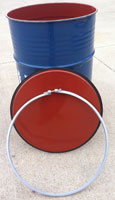 55 gallon open top barrel with bolt ring (all colors)